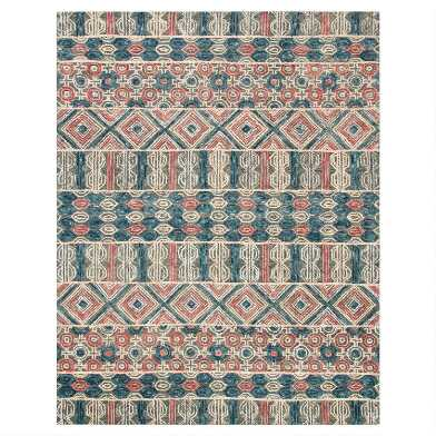 Gray and Navy Geometric Tufted Wool Harper Area Rug