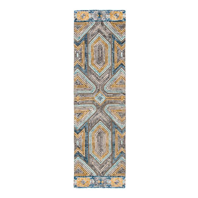 Gray and Beige Geometric Tufted Wool Evan Floor Runner