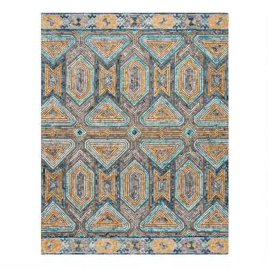 Gray and Beige Geometric Tufted Wool Evan Area Rug