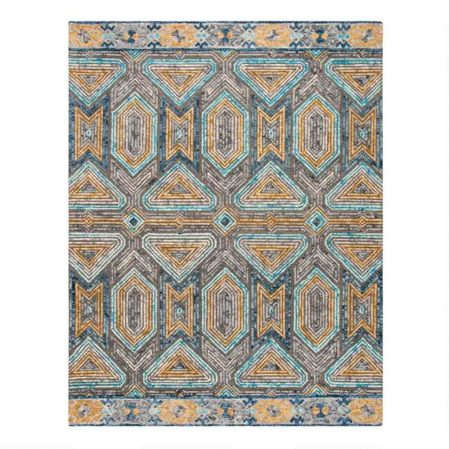 Round Gray And Beige Geometric Tufted Wool Evan Area Rug World Market