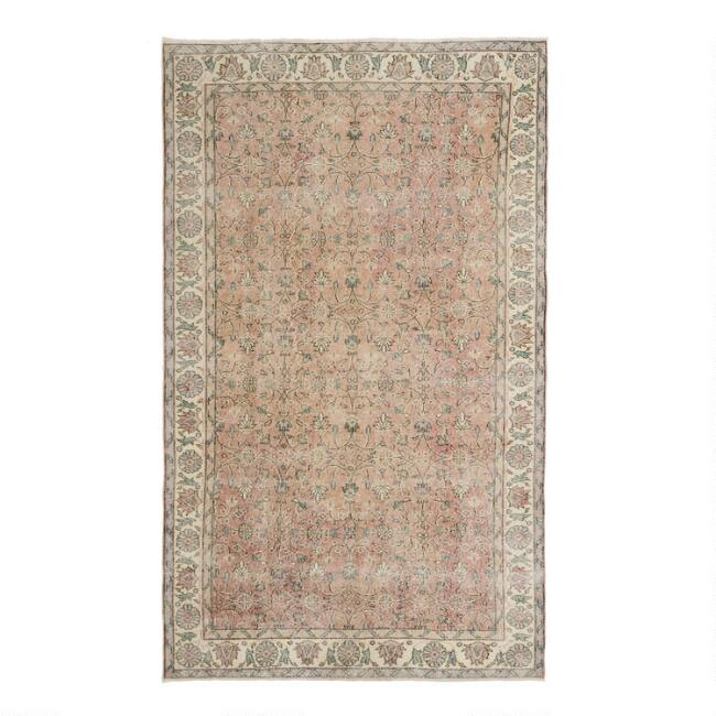Revival Rugs Dusty Rose Wool Gervasia Vintage Area Rug