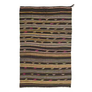 Revival Rugs Brown Striped Vlatko Vintage Area Rug