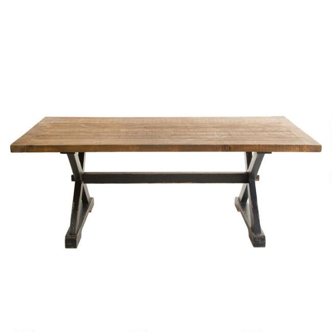 Natural and Black Reclaimed Pine Winona Dining Table