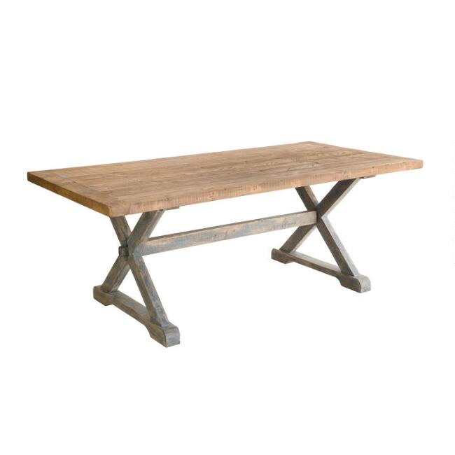 Natural and Blue Reclaimed Pine Winona Dining Table
