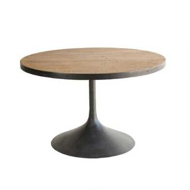 Round Reclaimed Pine and Black Metal Logan Dining Table