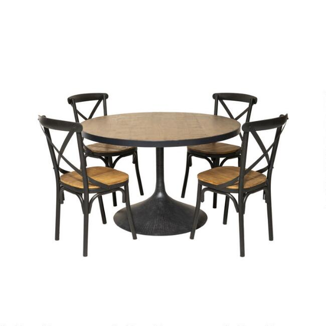 Reclaimed Wood and Black Metal Logan Dining Collection