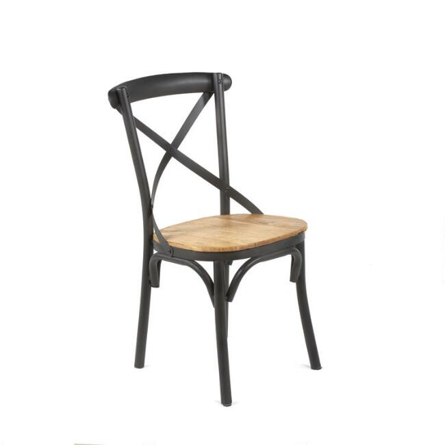 Reclaimed Elm and Black Metal Logan Dining Chair Set of 2