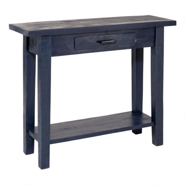 Antique Navy Blue Wood Leigh Console Table