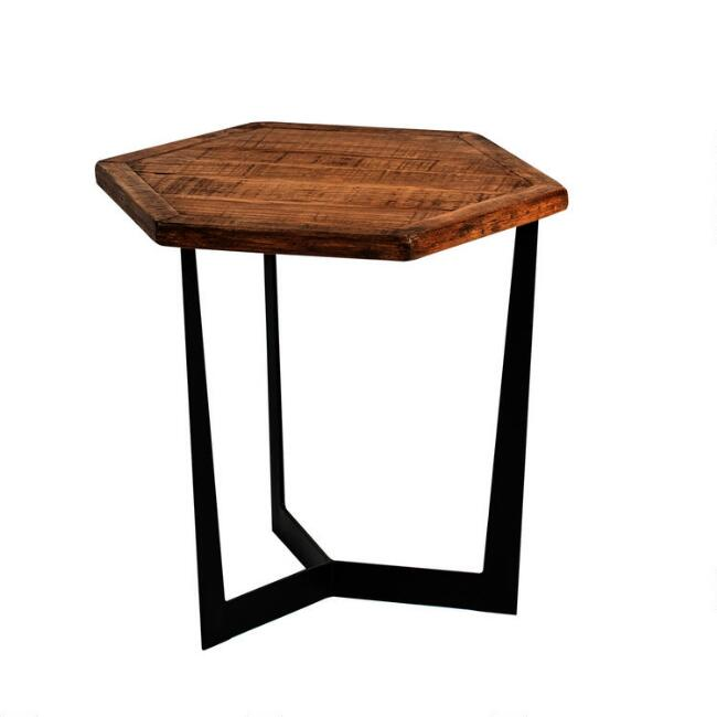 Low Natural Reclaimed Pine and Metal Atticus Accent Table