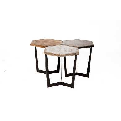 Low Reclaimed Pine and Metal Atticus Accent Table Collection