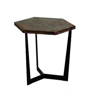Low Blue Reclaimed Pine and Metal Atticus Accent Table