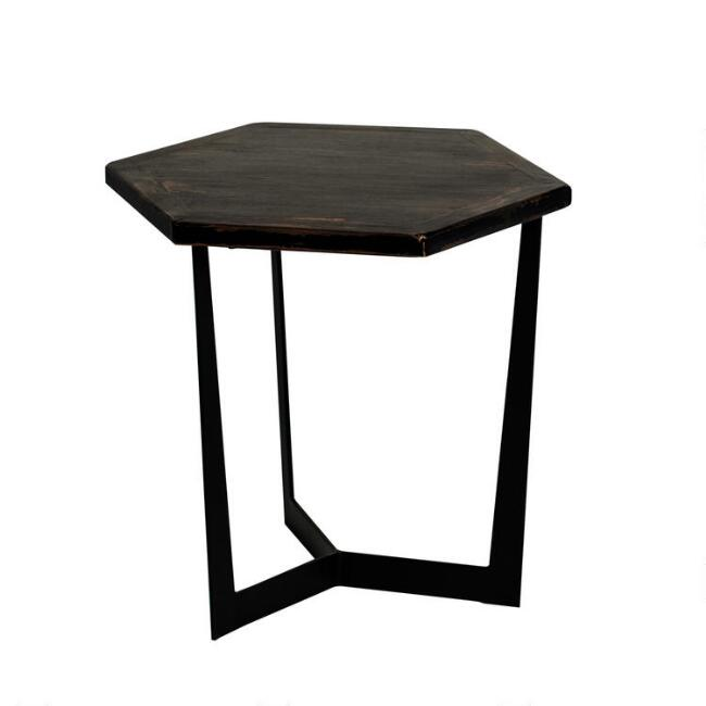 Low Black Reclaimed Pine and Metal Atticus Accent Table