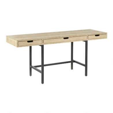 Graywash Reclaimed Pine Tate Desk with Drawers