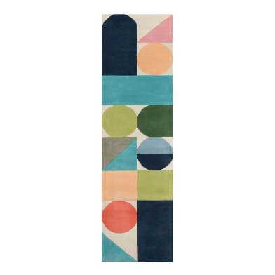 Multicolor Mod Geometric Wool Maureen Floor Runner