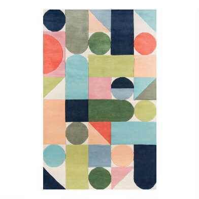 Multicolor Modern Geometric Wool Maureen Area Rug