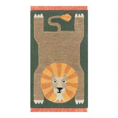 Green, Orange And Tan Lion Wool Area Rug