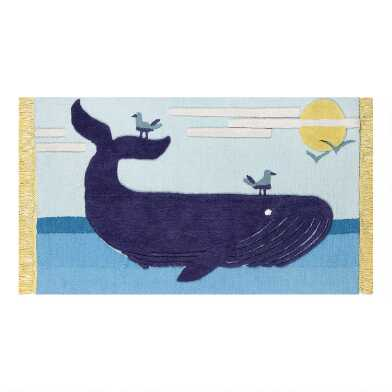 Blue Whale Wool Area Rug