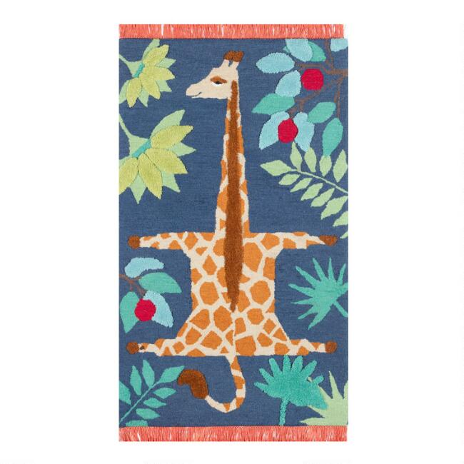 Navy And Orange Giraffe Wool Area Rug