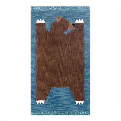 Blue And Brown Bear Wool Area Rug