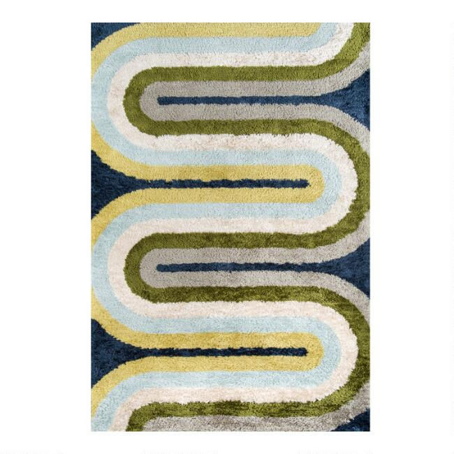 Blue And Green Geo Curve Retrograde Area Rug