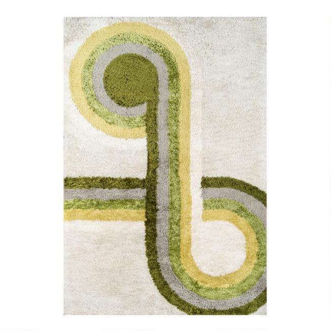 Green And Ivory Geo Loop Retrograde Area Rug