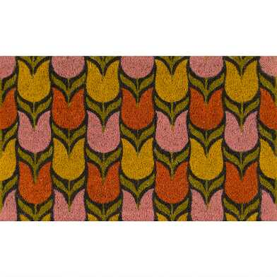 Multicolor Tulips Coir Doormat