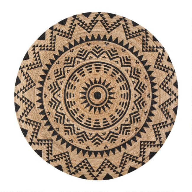Round Natural and Black Jute Cortez Area Rug