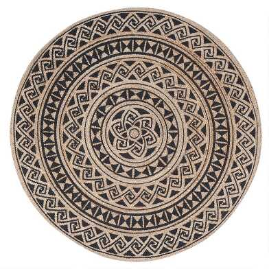 Round Natural and Black Geo Jute Shanti Area Rug