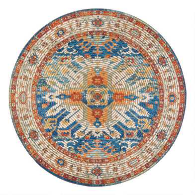 Round Distressed Blue and Orange Jute Blend Sahand Area Rug