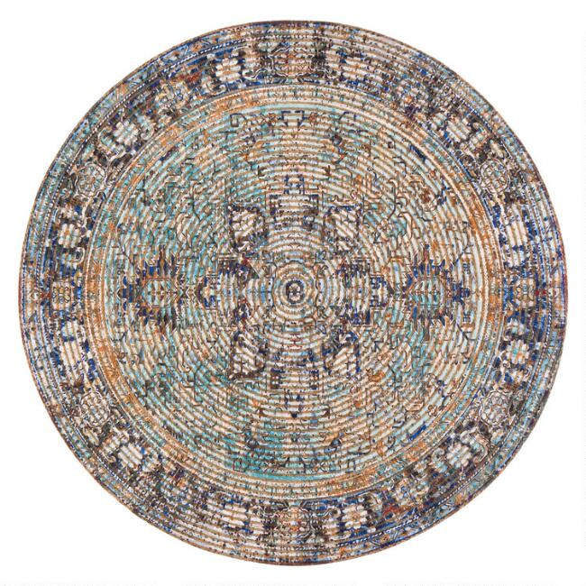 Round Distressed Purple Jute Blend Harzan Area Rug
