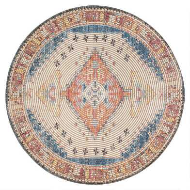 Round Distressed Ivory and Red Jute Blend Beso Area Rug
