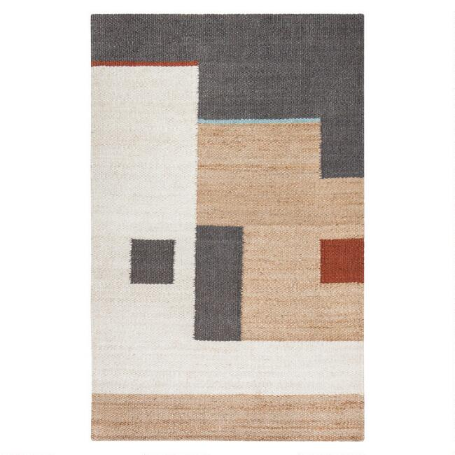 Tan and Ivory Abstract Woven Jute Heera Area Rug