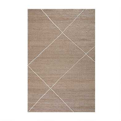 Natural Jute and Ivory Parallel Lines Jute Area Rug