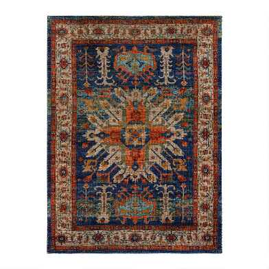 Blue and Orange Distressed Jute Blend Sahand Area Rug