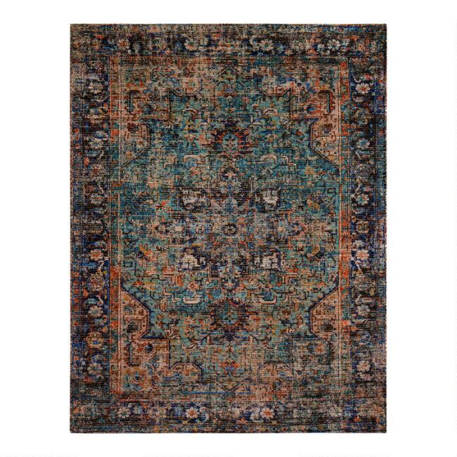 Distressed Persian Style Jute Blend Hazaran Area Rug