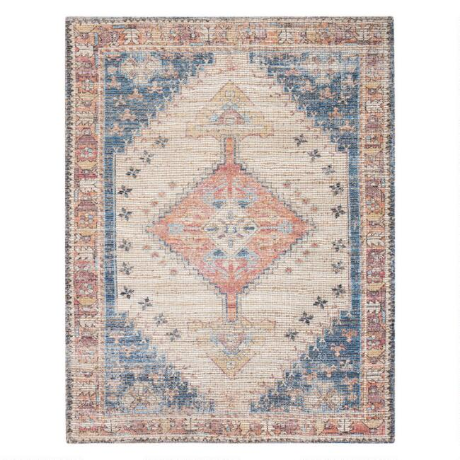 Multicolor Distressed Persian Style Jute Blend Beso Area Rug