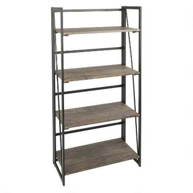 Wood And Black Metal Avery Bookshelf