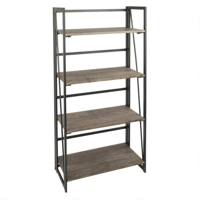 Distressed Wood and Black Metal Avery Bookshelf