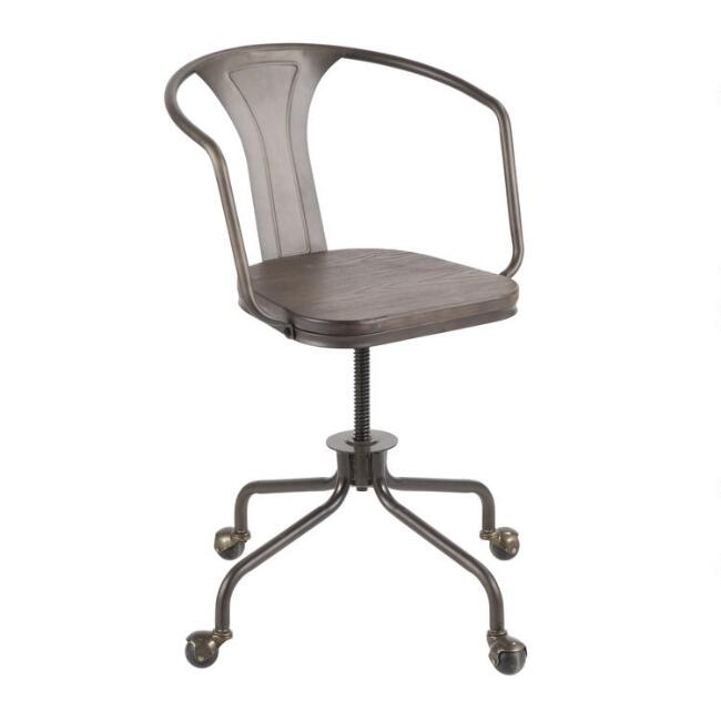Metal and Espresso Wood Arwen Office Chair