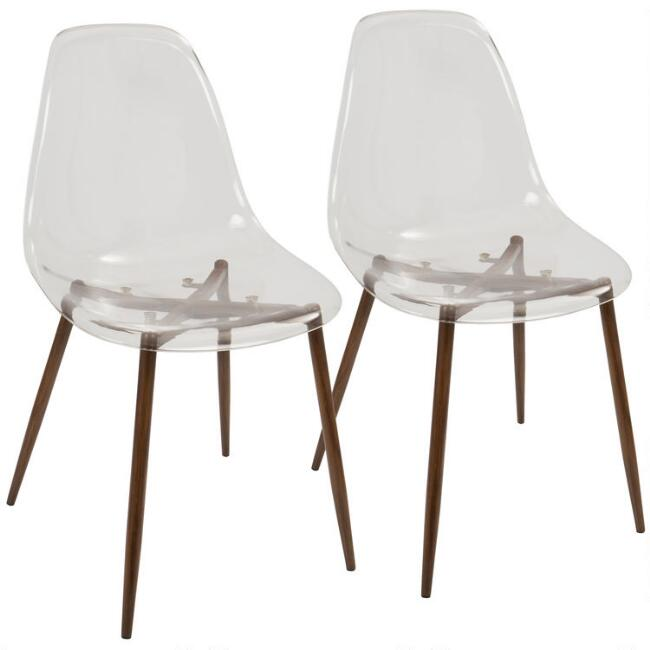Clear Acrylic and Metal Colton Dining Chairs Set of 2