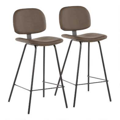 Faux Leather Novah Upholstered Counter Stools Set of 2