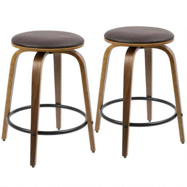 Brown Faux Leather Harper Swivel Counter Stools Set of 2