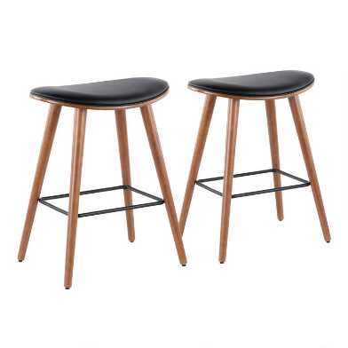 Black Faux Leather Luna Upholstered Counter Stools Set of 2