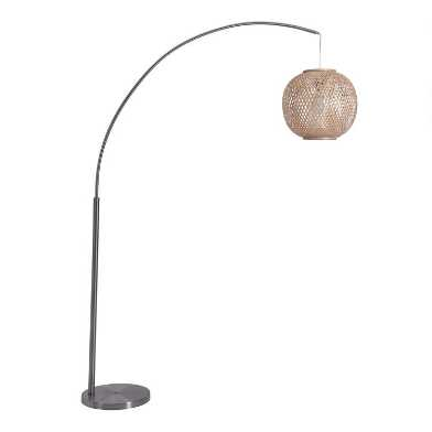 Natural Bamboo and Metal Arc Inverness Floor Lamp