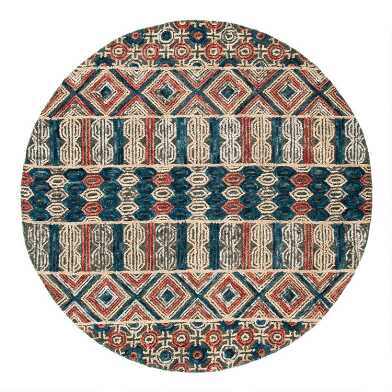 Round Gray and Navy Geometric Tufted Wool Harper Area Rug