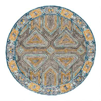 Round Gray and Beige Geometric Tufted Wool Evan Area Rug