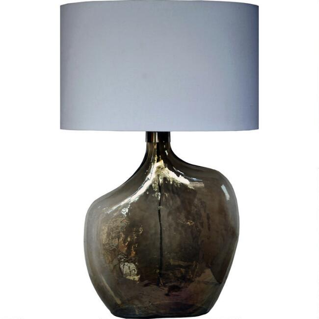 Smoke Gray Luster Glass Elena Table Lamp