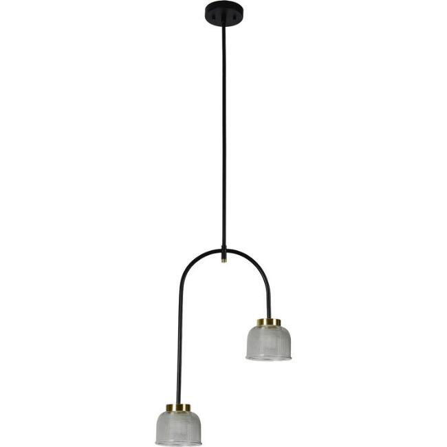 Textured Glass Two Arm Vermont Pendant Lamp