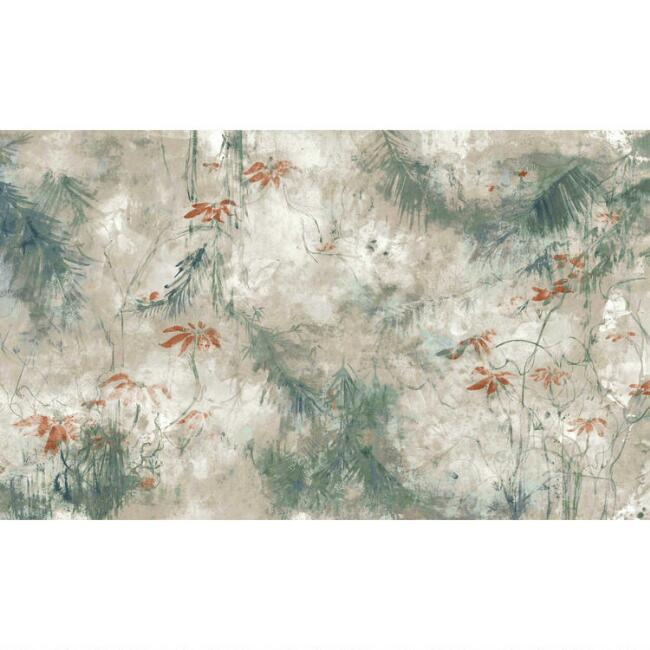 Gray and Blue Jungle Lily Peel And Stick Wallpaper Mural