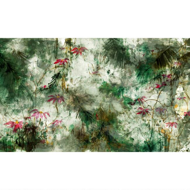 Green Jungle Lily Peel And Stick Wallpaper Mural